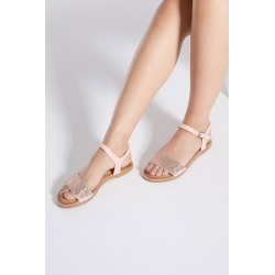 Pink Diamante Flat Sandals found on Bargain Bro UK from Quiz Clothing