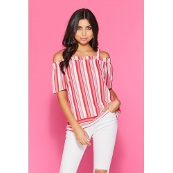 Red Pink Stripe Cold Shoulder Top found on Bargain Bro UK from Quiz Clothing