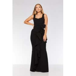 Black Bow Ruffle Front Maxi Dress found on Bargain Bro UK from Quiz Clothing