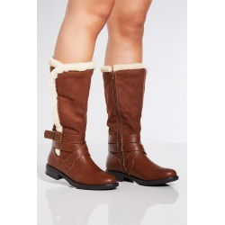 Tan Faux Fur Trim Buckle Calf Boots found on Bargain Bro UK from Quiz Clothing