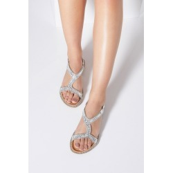Silver Diamante Flat Sandals found on Bargain Bro UK from Quiz Clothing