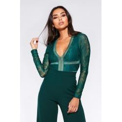 Green Lace Long Sleeve Bodysuit found on Bargain Bro UK from Quiz Clothing