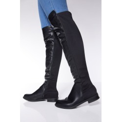 Black Faux Leather Knee High Boots found on Bargain Bro UK from Quiz Clothing