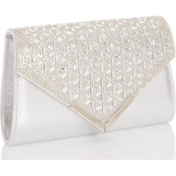Silver Jewel Cluster Envelope Bag found on Bargain Bro UK from Quiz Clothing