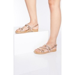 Rose Gold Diamante Flat Sandals found on Bargain Bro UK from Quiz Clothing