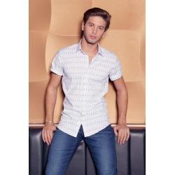 White & Navy Short Sleeve Geometric Shirt found on Bargain Bro UK from Quiz Clothing