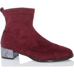 Burgundy Faux Suede Jewel Heel Sock Boots found on Bargain Bro UK from Quiz Clothing