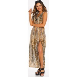 Brown Leopard Print Beach Dress found on MODAPINS from Quiz Clothing for USD $20.93