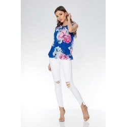 Royal Blue Chiffon Floral Bubble Top found on Bargain Bro UK from Quiz Clothing