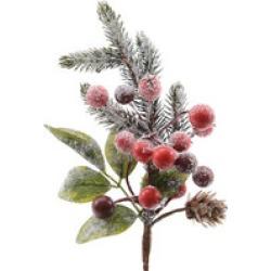 Everlands Berries And Pinecones Pick 24cm
