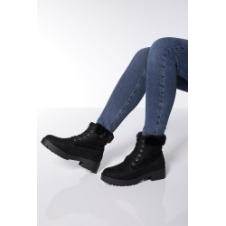 Black Faux Fur Hiker Boots found on Bargain Bro UK from Quiz Clothing