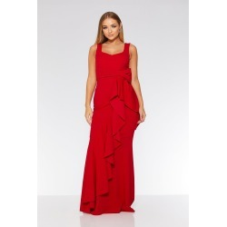 Red Bow Ruffle Front Maxi Dress found on Bargain Bro UK from Quiz Clothing