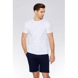 White & Blue Geometric Print T-Shirt found on Bargain Bro UK from Quiz Clothing
