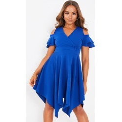 Petite Blue Cold Shoulder Dress found on MODAPINS from Quiz Clothing for USD $23.32