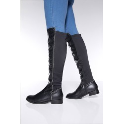 Black Stud Faux Leather Knee High Boots found on Bargain Bro UK from Quiz Clothing