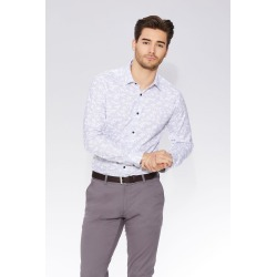 Blue & Grey Geometric Print Long Sleeve Shirt found on Bargain Bro UK from Quiz Clothing