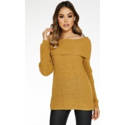 Mustard Bardot Lace Up Jumper found on Bargain Bro UK from Quiz Clothing