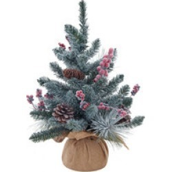 Flocked Berries And Pinecones Tree 18 Inches