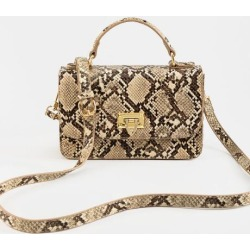Alix Snake Print Top Handle Crossbody - Taupe found on MODAPINS from Francesca's Collections for USD $44.00