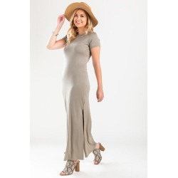 Paige Crew Neck Maxi Dress - Olive found on MODAPINS from Francesca's Collections for USD $44.00