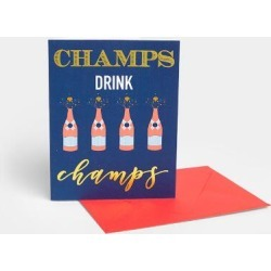 Champs Drink Champagne Card - Navy