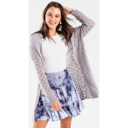 Jocelyn Open Weave Sweater Cardigan - Gray found on MODAPINS from Francesca's Collections for USD $48.00