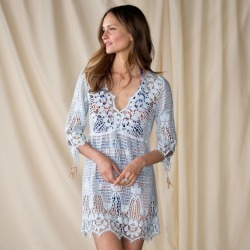 Blue Crochet Tunic-the Islands