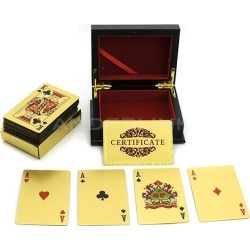 New 24K Karat Gold Foil Plated EUR Poker Playing Card With Wood Box and Certificate found on Bargain Bro India from tomtop for $0.79