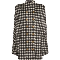 Balmain Double-Breasted Gingham Cape