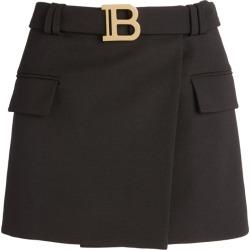 Balmain Belted Wool Mini Skirt found on Bargain Bro UK from harrods.com