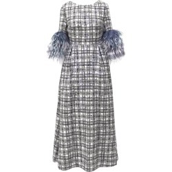 Huishan Zhang Mariah Feather-Trim Plaid Dress found on MODAPINS from harrods (us) for USD $2081.00
