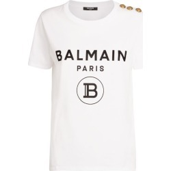 Balmain Flocked Logo Button T-Shirt found on Bargain Bro UK from harrods.com
