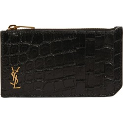 Saint Laurent Croc-Embossed Monogram Card Holder found on GamingScroll.com from Harrods Asia-Pacific for $374.93