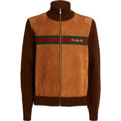 Gucci Suede Bomber Jacket found on Bargain Bro UK from harrods.com