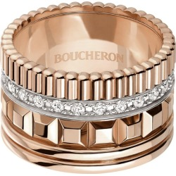 Boucheron Rose Gold and Diamond Quatre Radiant Edition Ring (Large) found on MODAPINS from harrods.com for USD $13630.82