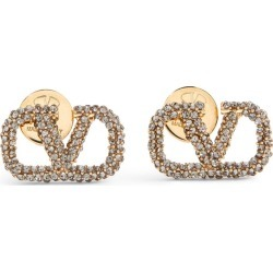 Valentino Valentino Garavani Metal and Crystal VLOGO Earrings found on Bargain Bro UK from harrods.com