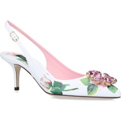 Dolce & Gabbana Leather Tropical Rose Print Slingback Pumps 60 found on Bargain Bro UK from harrods.com