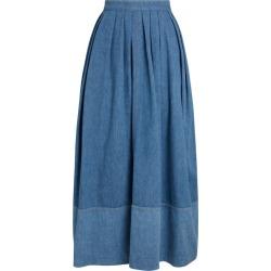 Chloé Denim Pleated Midi Skirt found on Bargain Bro UK from harrods.com