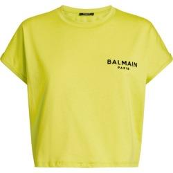 Balmain Flocked Logo Crop Top found on Bargain Bro UK from harrods.com
