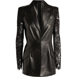 Alexander McQueen Lace Sleeve Leather Jacket found on Bargain Bro UK from harrods.com