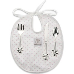 English Trousseau Kids Cutlery and Bib Set (Pink) found on Bargain Bro UK from harrods.com