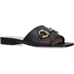 Gucci Deva Leather Horsebit Slides found on Bargain Bro UK from harrods.com