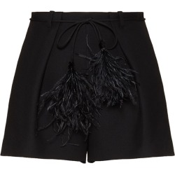 Valentino Crepe Wool-Silk Shorts with Feather Belt found on Bargain Bro UK from harrods.com