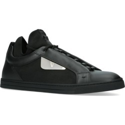 Fendi Leather Contrast Trim Sneakers found on Bargain Bro UK from harrods.com