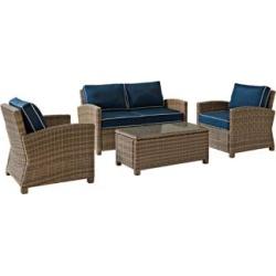 Bradenton 4-Piece Rattan Wicker Navy Outdoor Seating Set (7K160)