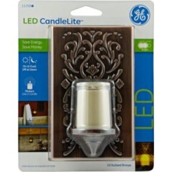 GE Plastic Faux Bronze Candlelight LED Night Light (M7644) found on Bargain Bro Philippines from Lamps Plus for $14.99