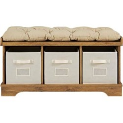 Carvallo Barnwood 3-Cubby Storage Bench with Bins (24W12) found on Bargain Bro India from Lamps Plus for $199.91