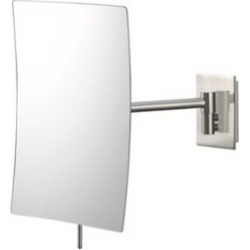 Aptations Brushed Nickel Minimalist Wall Mount Makeup Mirror (92922) found on Bargain Bro India from Lamps Plus for $149.90