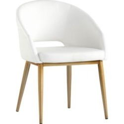 Thatcher White Faux Leather and Antique Brass Dining Chair (58A16) found on Bargain Bro India from Lamps Plus for $169.99