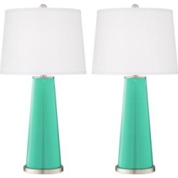 Leo Turquoise Modern Table Lamp by Color Plus - Set of 2 (17T40)